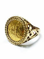 9ct Gold Sovereign Signet Ring